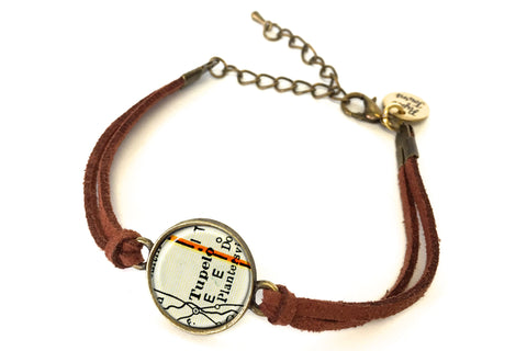Tupelo, Mississippi Map Bracelet - created from a 1937 Map.