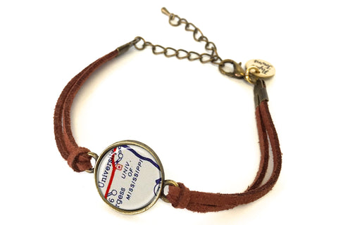 University of Mississippi (Ole Miss) Map Bracelet - created from a 1956 Map.