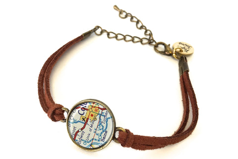 University of Missouri (Mizzou) Map Bracelet - created from a 1956 Map.