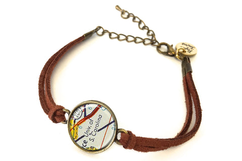 University Of South Carolina Map Bracelet - created from a 1956 Map.