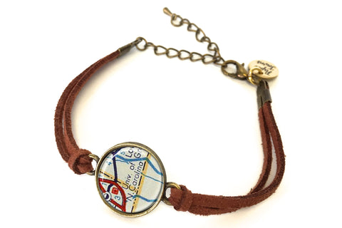 University of North Carolina Map Bracelet - created from a 1956 Map.