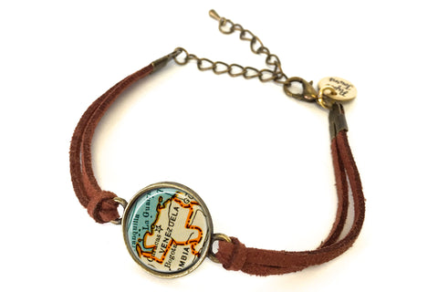 Venezuela Map Bracelet - created from a 1937 map.