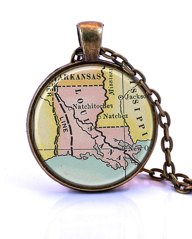 Louisiana Map Pendant Necklace - created from a 1920 map.-Small Pendant-Paper Towns Vintage