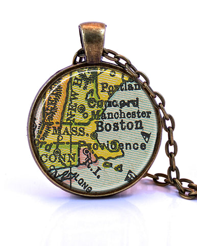 Massachusetts Map Pendant Necklace - created from a 1934 map.-Small Pendant-Paper Towns Vintage