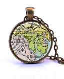 Maryland Map Pendant Necklace - created from a 1920 map.-Small Pendant-Paper Towns Vintage