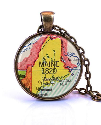 Maine Map Pendant Necklace - created from a 1953 map.-Small Pendant-Paper Towns Vintage