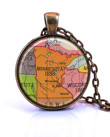 Minnesota Map Pendant Necklace - created from a 1953 map.-Small Pendant-Paper Towns Vintage