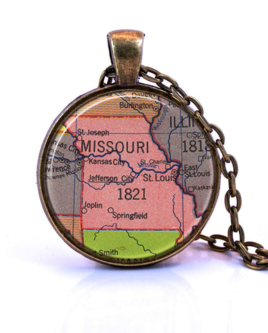Missouri Map Pendant Necklace - created from a 1953 map.-Small Pendant-Paper Towns Vintage