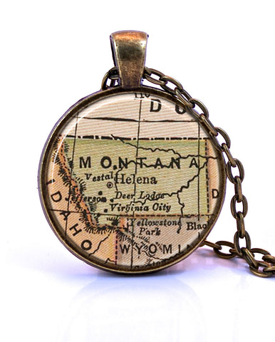 Montana Map Pendant Necklace - created from an 1880 map.-Small Pendant-Paper Towns Vintage