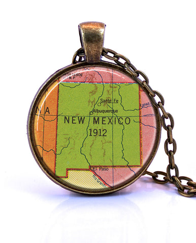 New Mexico Map Pendant Necklace - created from a 1953 map.-Small Pendant-Paper Towns Vintage