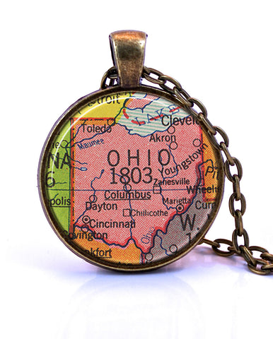 Ohio Map Pendant Necklace - created from a 1953 map.-Small Pendant-Paper Towns Vintage
