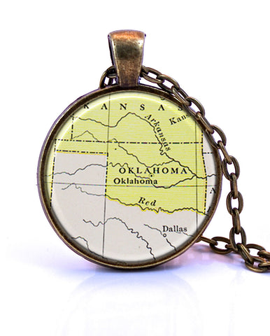 Oklahoma Map Pendant Necklace - created from a 1920 map.-Small Pendant-Paper Towns Vintage