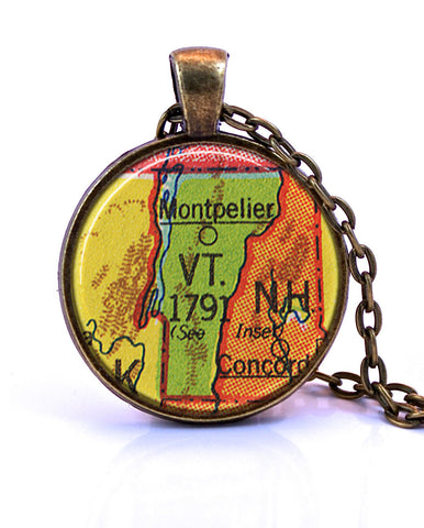 Vermont Map Pendant Necklace - created from a 1953 map.-Small Pendant-Paper Towns Vintage