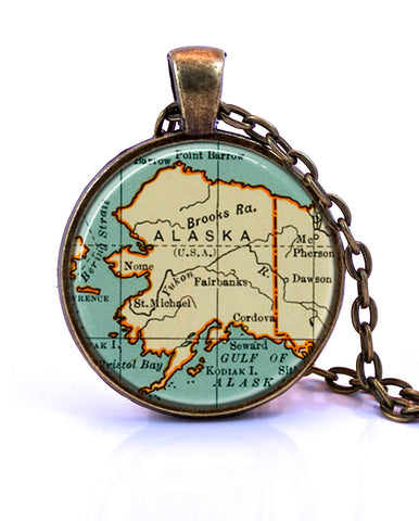 Alaska Map Pendant Necklace by Paper Towns Vintage