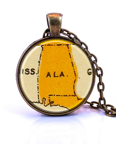 Alabama Map Pendant Necklace by Paper Towns Vintage