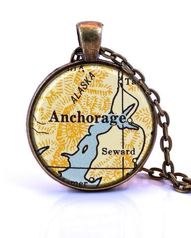 Anchorage Seward Alaska Map Pendant Necklace by Paper Towns Vintage