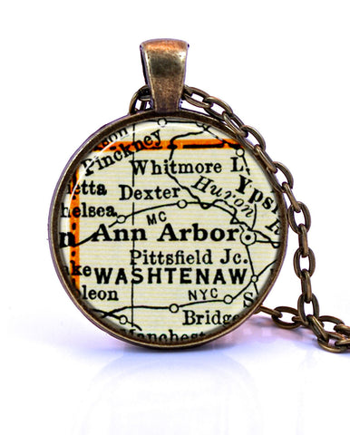 Ann Arbor Michigan Map Pendant Necklace by Paper Towns Vintage