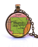 Arkansas Map Pendant Necklace by Paper Towns Vintage