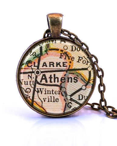 Athens Georgia Map Pendant Necklace by Paper Towns Vintage