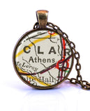 Athens Georgia Map Necklace UGA Map Necklace Georgia Jewelry