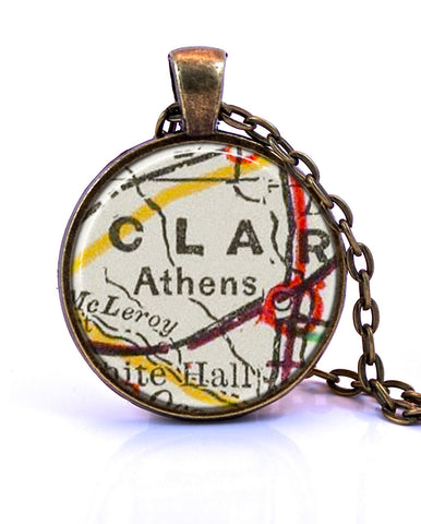 Athens, Georgia Map Pendant Necklace - created from a 1901 map. on map party decor, map blouse, map linens, map engraving, map gift wrapping, map of nashville necklace, map drapes, map end tables, map throw blanket, map items, map pouf, map sweatshirt, map vest, map party favors, map pendant necklaces, map name tags, map art, map wall artwork, map necklace diy, map gift tags,