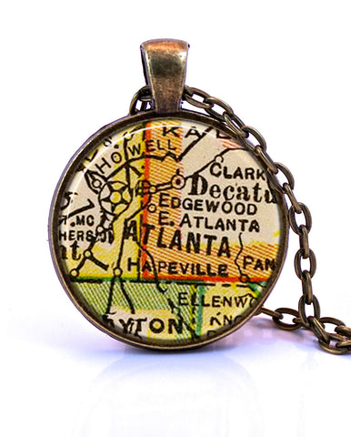 Atlanta Georgia Map Pendant Necklace by Paper Towns Vintage