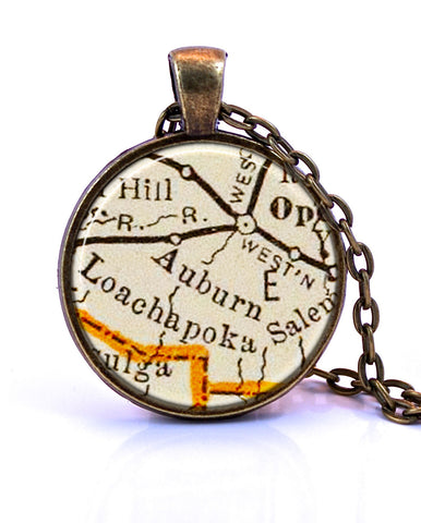 Auburn Alabama Map Pendant Necklace by Paper Towns Vintage