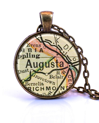 Augusta Georgia Map Pendant Necklace by Paper Towns Vintage