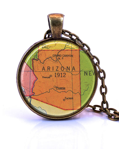 Arizona Map Pendant Necklace by Paper Towns Vintage