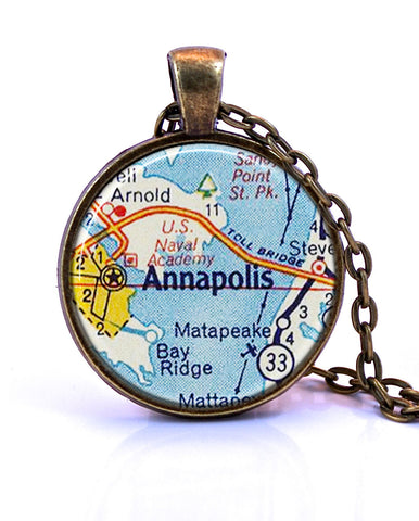 Annapolis Maryland Map Pendant Necklace by Paper Towns Vintage