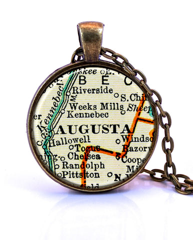 Augusta Maine Map Pendant Necklace by Paper Towns Vintage