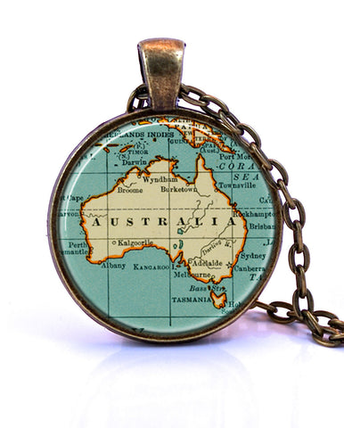 Australia Map Pendant Necklace by Paper Towns Vintage