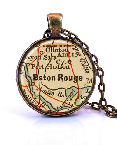 Baton Rouge Map Pendant Necklace Louisiana Jewelry