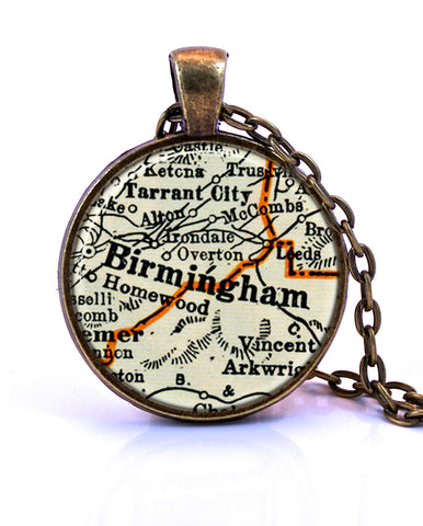 Birmingham, Alabama Map Pendant Necklace - created from a 1937 map.-Small Pendant-Paper Towns Vintage