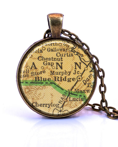 Blue Ridge, Georgia Map Pendant Necklace - created from a 1948 map.-Small Pendant-Paper Towns Vintage
