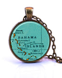 Bahama Islands Map Pendant Necklace by Paper Towns Vintage
