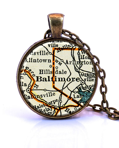 Baltimore Maryland Map Pendant Necklace by Paper Towns Vintage