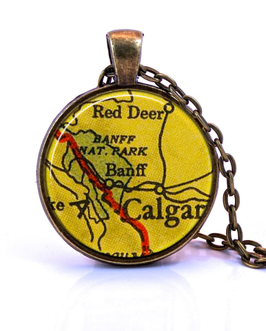 Banff Calgary Map Pendant Necklace by Paper Towns Vintage