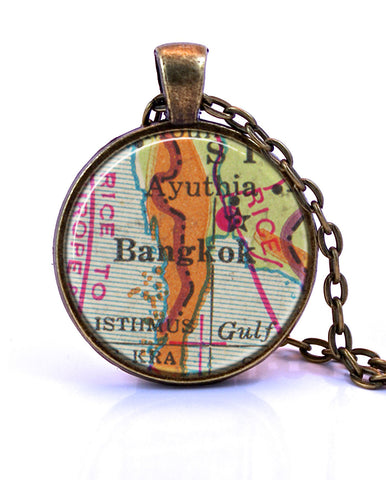 Bangkok Map Jewelry Thailand Map Necklace