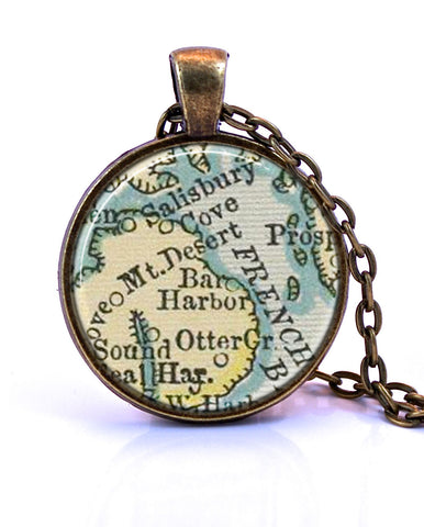 Bar Harbor Map Necklace Maine Map Jewelry