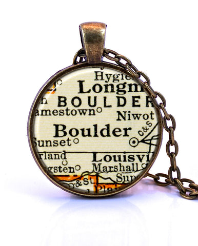 Boulder, Colorado Map Pendant Necklace - created from a 1937 map.-Small Pendant-Paper Towns Vintage