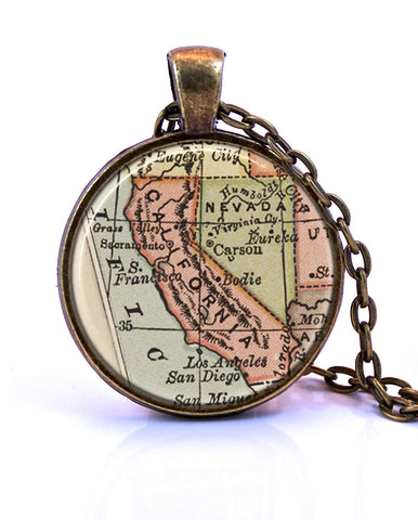 California Map Pendant Necklace - created from an 1880 map.-Small Pendant-Paper Towns Vintage
