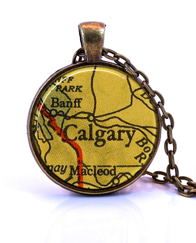 Calgary, Alberta Map Pendant Necklace - created from a 1943 map.-Small Pendant-Paper Towns Vintage