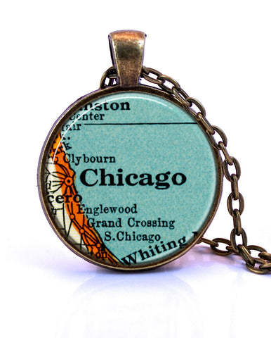 Chicago, Illinois Map Pendant Necklace - created from a 1937 map.-Small Pendant-Paper Towns Vintage