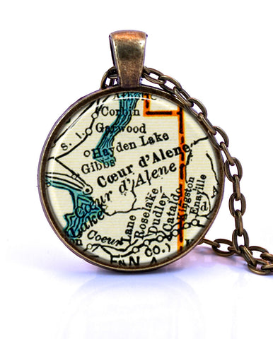 Coeur D'Alene, Idaho Map Pendant Necklace - created from a 1937 map.-Small Pendant-Paper Towns Vintage
