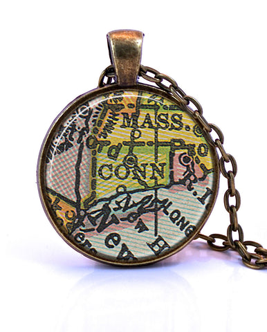 Connecticut Map Pendant Necklace - 1934A-Small Pendant-Paper Towns Vintage
