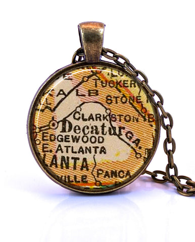 Decatur, Georgia Map Pendant Necklace - created from a 1927 map.-Small Pendant-Paper Towns Vintage