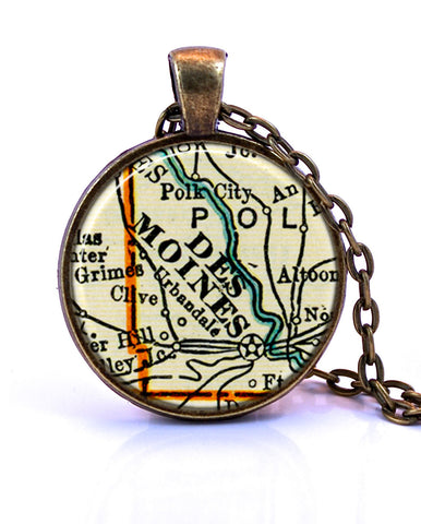 Des Moines, Iowa Map Pendant Necklace - created from a 1937 map.-Small Pendant-Paper Towns Vintage