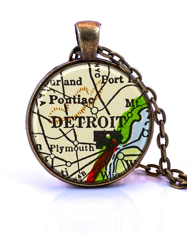 Detroit, Michigan Map Pendant Necklace - created from a 1958 map.-Small Pendant-Paper Towns Vintage