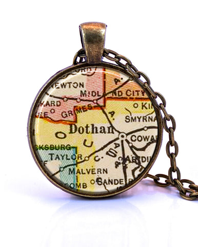 Dothan, Alabama Map Pendant Necklace - created from a 1927 map.-Small Pendant-Paper Towns Vintage